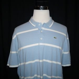 Lacoste Polo Shirt Men's 8 XL XXL Blue Striped